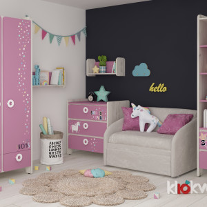 Детская комната Мини дуб белый + роза +unicorn