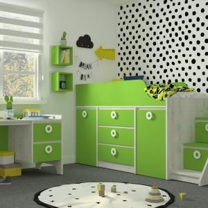 Детская комната Мини дуб серый +зеленая мамба