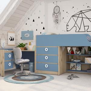 Детская комната Мини капри синий + дуб серый