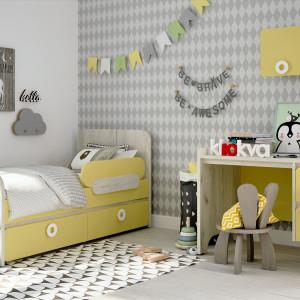 Детская комната Мини лимонный сорбет + дуб белый